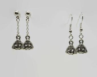 Buddha - Silver - 3 cm earrings