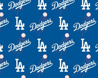 """Los Angeles Dodgers Fabric MLB Baseball Fabric 58"""" Wide By Fabric Traditions 100% Cotton"""