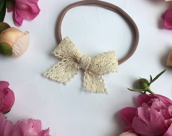 Lace Bow For Baby Freesize Headband Lace Band Lace Bow Headband Newborn Lace Bow Headband Baby Girl Headband Toddler Headband Lace Hair Bow