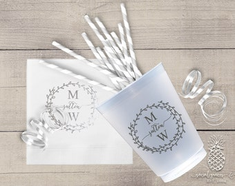 Personalized Cups | Monogram Cups | Wedding Party Cups | Personalized Plastic Cups | Party Cups | Frosted Cups | Bride Groom Cups