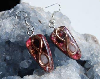 Infinity Lemniscate Orgonite® Earrings with Rose Quartz, 925 Sterling Silver Hooks Findings