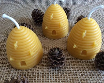 Beeswax Skep Candles, Set of 3 Skep Candles, Beeswax Candle Set, Pure Beeswax Candles, Skep Candles, Beeswax Votive Candles, Beeswax, Bees