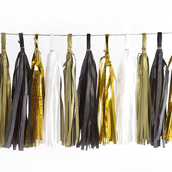 Midnight Glam Tassel, Tissue Tassels, Tassel Banner, DIY Tassels, Bachelorette, Wedding, Black White Decor, New Years Decor, Graduation