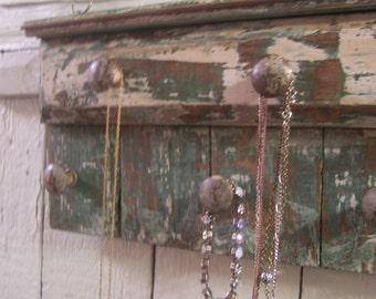 Handmade Jewelry Organizer, Rack, Reclaimed, Distressed Wood, Wall Hanging, Necklace Holder, Key Rack