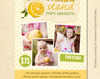 INSTANT DOWNLOAD Lemonade Stand Mini Session template - MA078