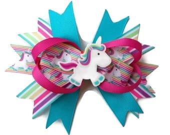 Rainbow Unicorn Hair clip ~ Rainbow Hair Bow ~Unicorn stacked boutique bow ~ Party hair bow ~ Children's hair accessories ~ UK Handmade bows