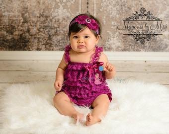 baby headband,  Duo Shabby Raspberry Plum headband, Plum Headband,  newborn headband, baby girls headband, eggplant headband