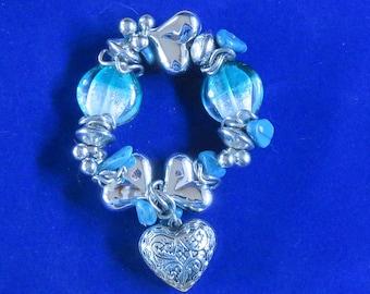 BRACELET Handblown Lampwork Turquoise Blue Glass Beads, Bloodstones and Silver Metal Hearts, Medium/Large Size (538)