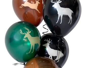 6 PC Buck Deer Latex Balloons/ Deer Hunting Birthday Balloons/ Deer Latex Balloons/ Deer Hunting Party/ Buck Balloons