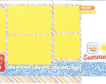 12x12 SUMMER scrapbook page kit, premade summertime scrapbook, 12x12 premade scrapbook page, premade scrapbook page, 12x12 scrapbook layout