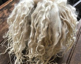 Long Suri Alpaca Locks, 12 Inches, Doll Hair, White, Penelope
