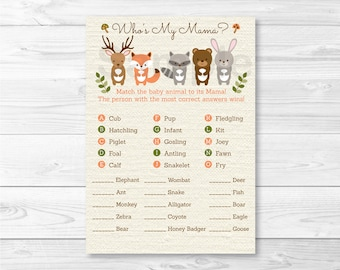 Woodland Forest Animal Match Baby Shower Game / Baby Animal Match / Who's My Mama / Gender Neutral / INSTANT DOWNLOAD A187