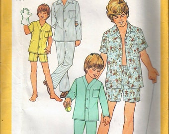 "Vintage 1977 Simplicity 6427 Boy's Pajamas in Two Lengths Sewing Pattern Size 10 & 12 Neck 12 1/2"" and 13"" Chest 28"" and 30"" UNCUT"