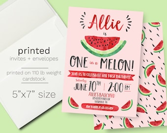 Watermelon Birthday Invitation PRINTED INVITES, One in a Melon, First Birthday Party, girl birthday, first birthday party, 1st birthday