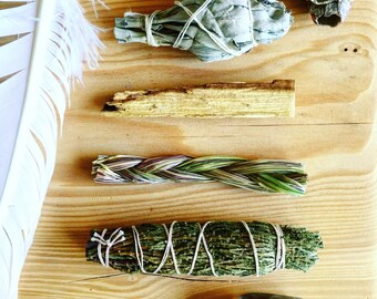 Sacred Medicine Cleansing Pack | Smudge Kit with Cedar, White Sage, Sweetgrass, and Palo Santo | Includes How to Smudge Instructions