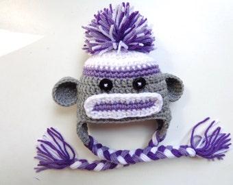 Newborn Girls Crochet Sock Monkey Hat- Purple and Gray- Photo Prop- Baby Boy Baby Girl