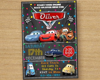 Cars Birthday Invite, Disney Cars Invitation, Chalkboard Custom Birthday Invitation, Cars Party Invites, Cars Lightening McQueen Invitation