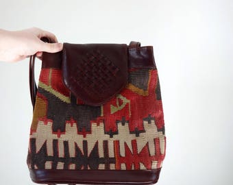 Vintage KILIM Purse • 1990s Shoulder Bag • Structured Bucket Style Woven Tapestry Handbag Leather Unique Textile Braided Made in Turkey