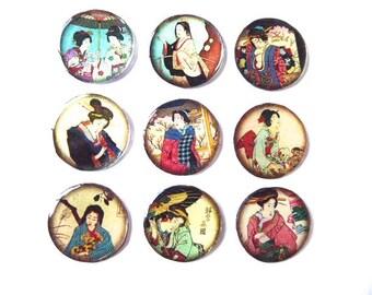 Cabochon resin craft, 25 mm, Japanese illustration, set of 9 Pcs