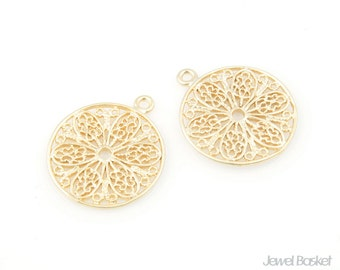 Flower in Circle Pendant (2pcs) / 15mm / BMG046-C