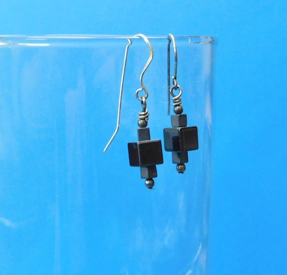 Small Hematite Earrings Unique Gemstone Jewelry Tiny Black Cube Dangles Artisan Crafted Handmade Birthday Anniversary Present Idea for Women