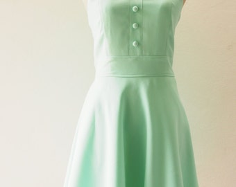 Mint Green Bridesmaid Dress Mint Green Party Dress Vintage Inspired Mint Green Dress Swing Skirt Modest Dress Sundress / XS-XL, Custom