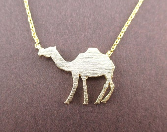 Camel Silhouette Shaped Pendant Necklace in Gold  | Minimalistic Handmade Animal Jewelry