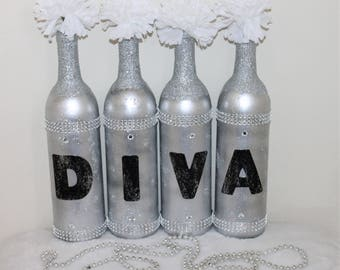 Set Of 4 Silver Blinged Out DIVA Recycled Wine Bottle Vases;Vanity Decor ;Glitter
