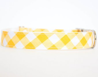 Gingham Dog Collar in Yellow