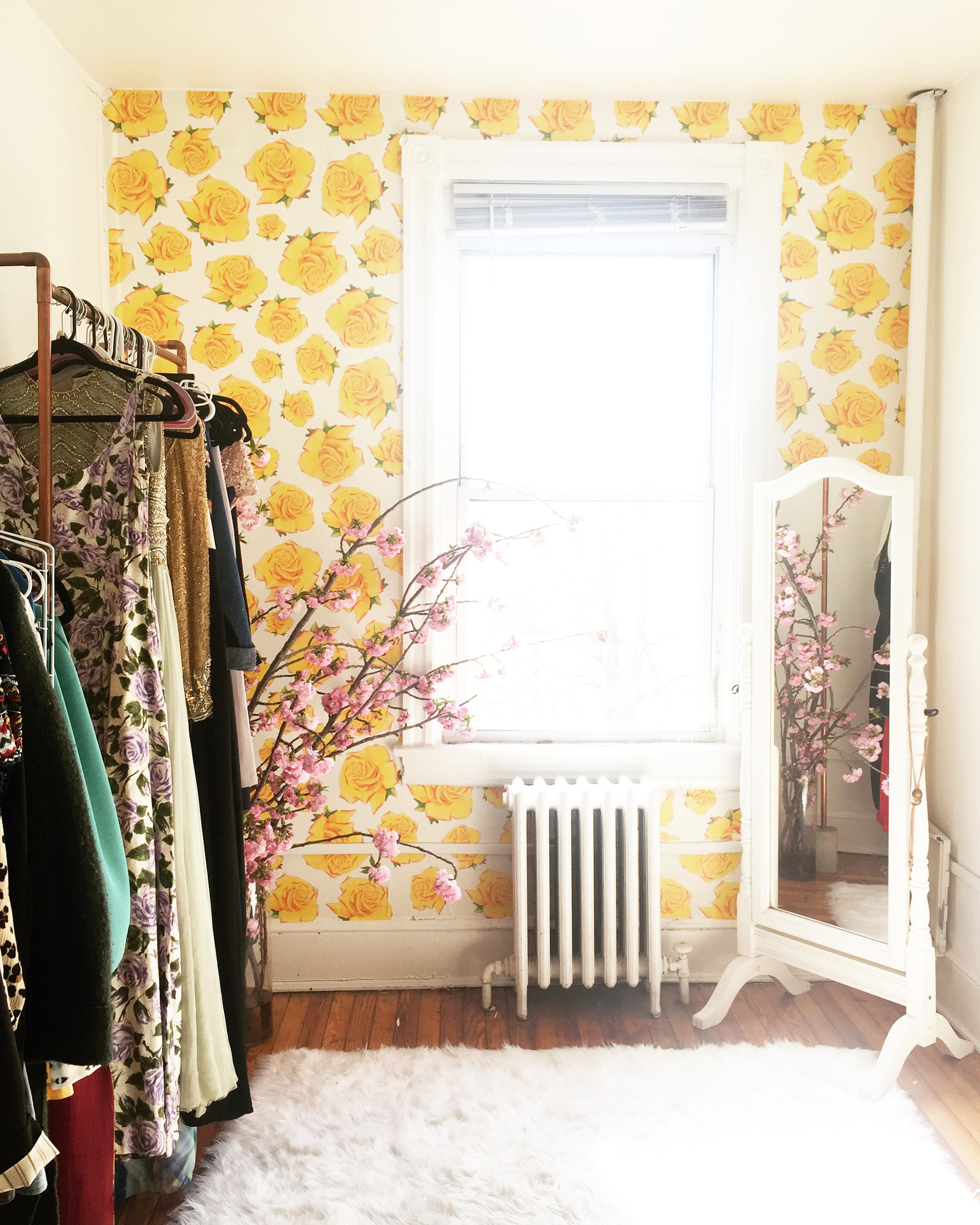 Wallpaper For Renters: Yellow Rose Wallpaper / Removable / Perfect For Renters And