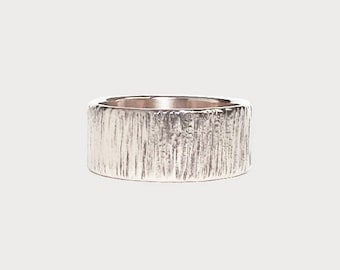 Carved Into Wood | 14K White Gold Wedding Band | Tree Bark Texture Wedding Band | Nature Inspired Wedding Band