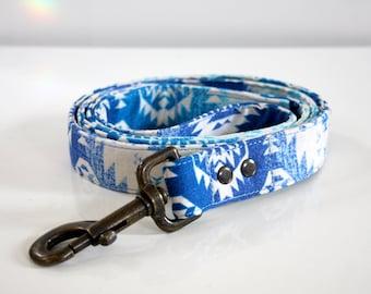 Ombre Southwestern BOHO Dog Leash - ocean blue - Antique brass