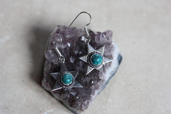 TURQUOISE STAR EARRINGS - Silver Earrings - Crystal Earrings - Healing Crystal Jewellery - Navajo - Statement - Bohemian - Vintage - Crystal