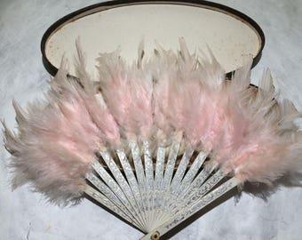 Antique Ladies Feather Hand Fan