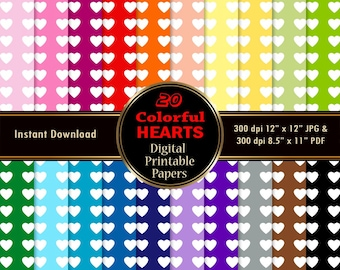 Hearts Digital Paper Pack 20 Pattern Colorful Rainbow Scrapbook Paper DOWNLOAD Printable Wrapping Pattern Graphics 12x12 jpg PDF 300 dpi