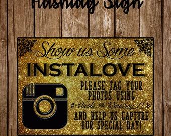 Show Us Some Instalove - Custom Wedding Instagram Social Media Hashtag Sign - Custom Hashtag for Wedding Sign