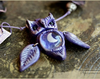 Purple winged Owl with moon necklace  - Handmade jewelry sculpt