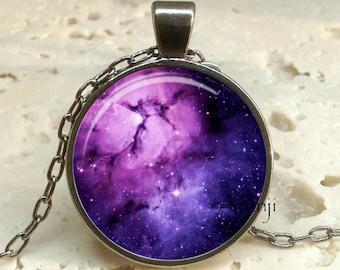 Purple nebula art pendant, nebula jewelry, nebula pendant, galaxy pendant, galaxy necklace, nebula necklace, space jewelry, Pendant #SP108GM