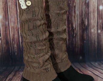 Light Brown Vintage Crochet Leg Warmers