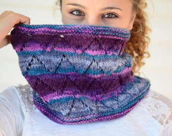 Cowl Scarf, Chunky Cowl, Hand Knit Cowl, Chevron Knit, Neck Warmer, Ombre, Purple, Multicolor, Hand Knit Scarf
