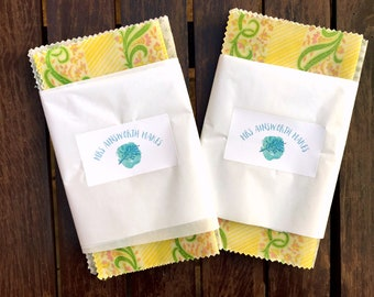Set of 3 Eco-Friendly Reusable Handmade Pretty Beeswax Wraps
