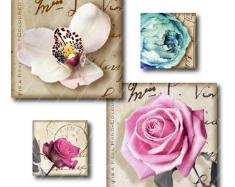 Vintage Flowers, 1 inch Square Tiles, Digital Collage Sheet, Download and Print Jpeg Clip Art Images