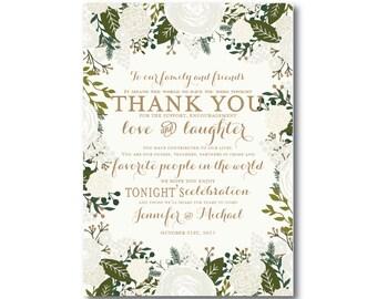 Wedding Thank You Note, Thank You Card, Wedding Note, Wedding Thank You Note, Thank You Wedding Card, Thank You Table Card #CL120