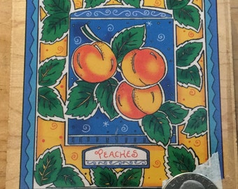 Peaches wooden rubber stamp