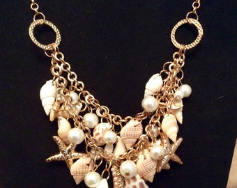 Necklace, Shell and Pearl Goldtone Necklace