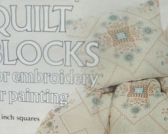 Quilt Blocks For Embroidery or Painting - Turquoise Bouquet