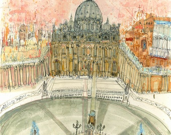 ST PETERS SQUARE, Rome Art Print, Signed Limited Edition print, Rome Watercolour Painting, Vatican City, Piazza San Pietro, Italy Wall Decor
