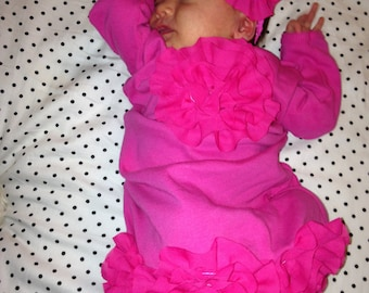 Infant Layette Cotton Hot Pink Baby Gown with Hot Pink Chiffon Flowers and Headband