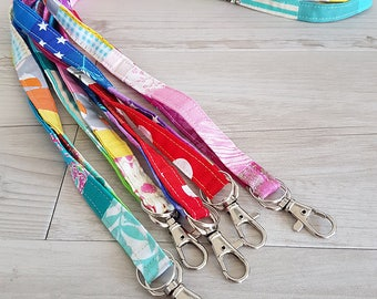 Rainbow patchwork fabric lanyard - with clasp and keyring