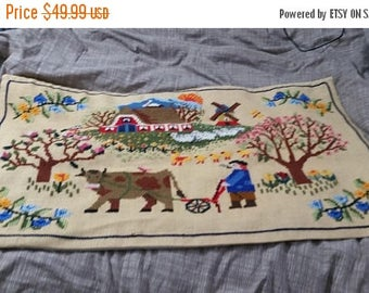 On Sale Large Embroidered Folk Art Rectangular Dutch Farm Scene  Hand Stitched Framed Wall Decor on Tan Fabric